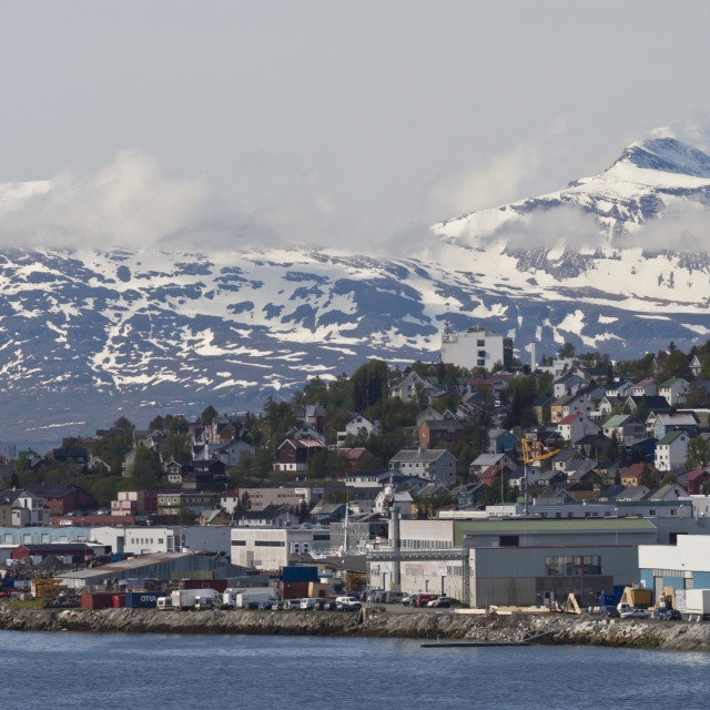 """Tromso in June with snowy mountains, Tromso, Troms, Norway, Scandinavia, Europe"" stock image"