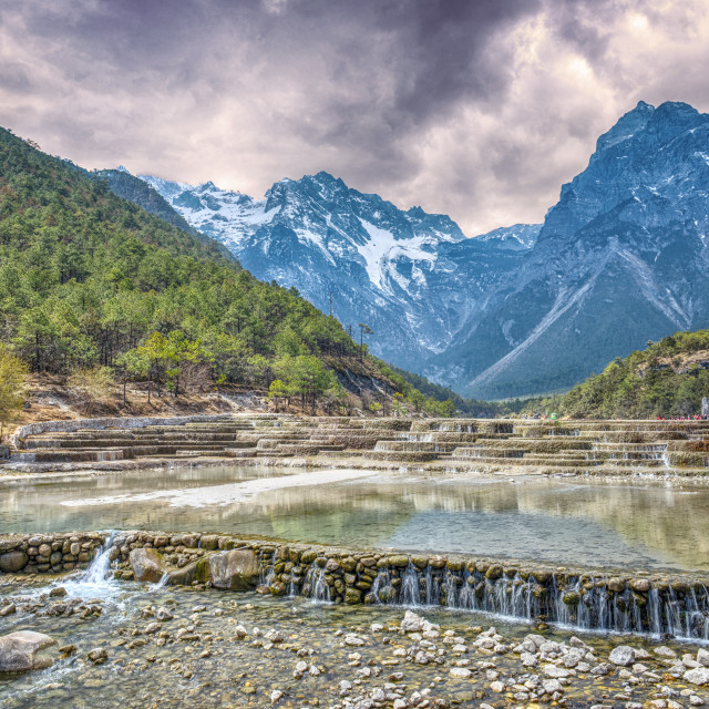 """""""HDR image of cascading falls at Baishuihe, or White Water River with Jade..."""" stock image"""