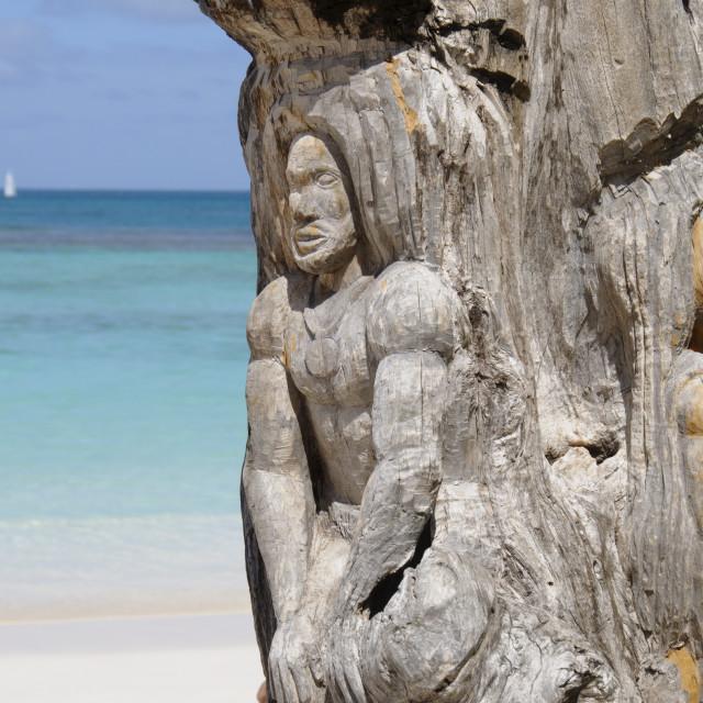 """Wooden tree sculpture, Long Bay, Antigua, Eastern Caribbean"" stock image"