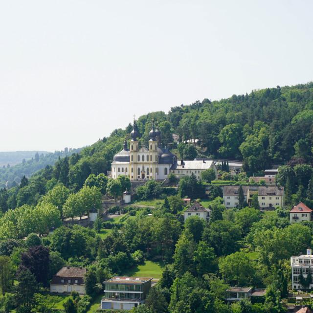 """Kappele (Pilgrimage Church) viewed from Marienberg Fortress, Wurzburg,..."" stock image"