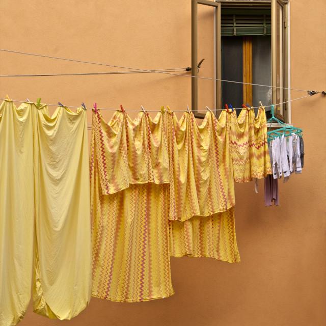 """Washing lines hanging across the street, Castello Quarter, Venice, Veneto,..."" stock image"