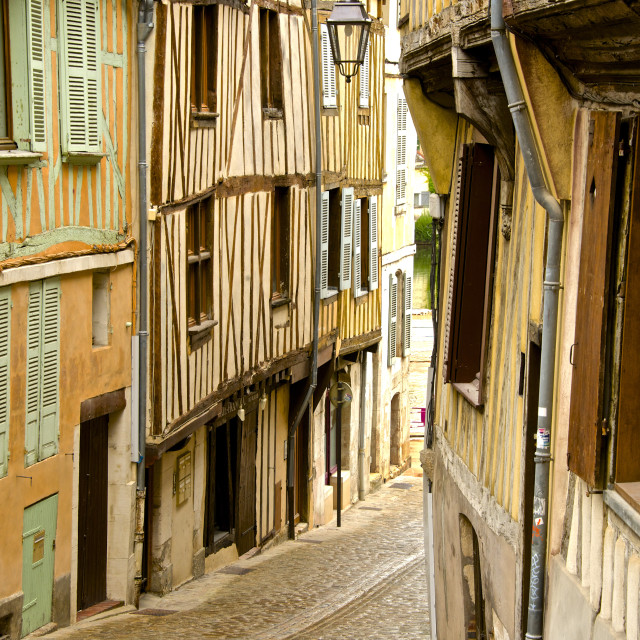 """""""Medieval houses facades, half timbered, old town, Macon, Saone et Loire,..."""" stock image"""