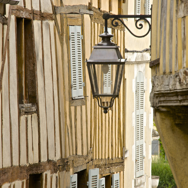 """""""Medieval house facade, half timbered, old town, Macon, Saone et Loire1,..."""" stock image"""