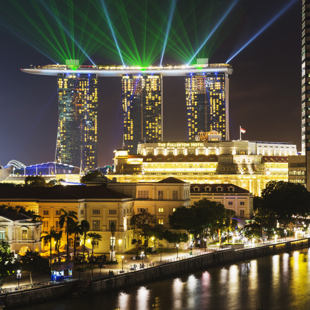 """""""Marina Bay Sands Hotel and Fullerton Hotel, Singapore, Southeast Asia, Asia"""" stock image"""