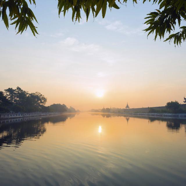 """Mandalay Palace at sunrise, Mandalay, Myanmar (Burma), Asia"" stock image"