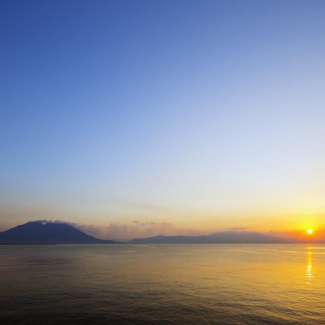 """Sunrise over Sakurajima volcano, Kagoshima, Kyushu, Japan, Asia"" stock image"
