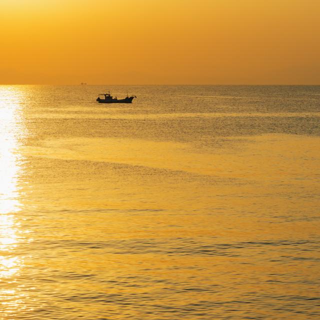 """Sunrise in Kagoshima Bay, Kagoshima, Kyushu, Japan, Asia"" stock image"