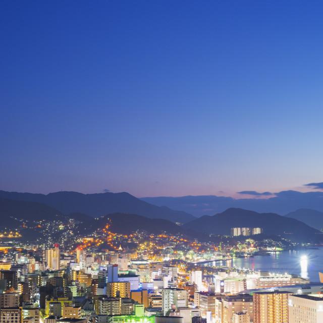 """Nagasaki Bay at night, Nagasaki, Kyushu, Japan, Asia"" stock image"
