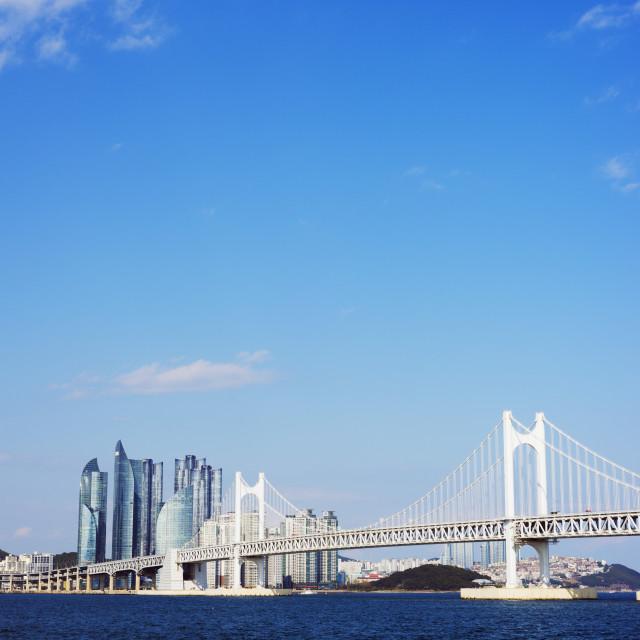 """City skyline and Gwangang bridge, Busan, South Korea, Asia"" stock image"