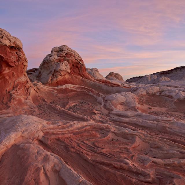 """White and pink sandstone ridges, White Pocket, Vermilion Cliffs National..."" stock image"
