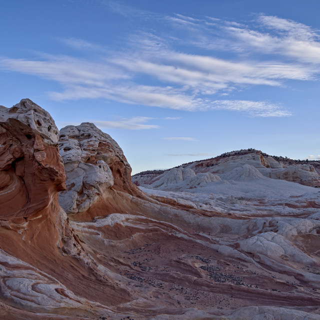 """""""Clouds over white and salmon sandstone, White Pocket, Vermilion Cliffs..."""" stock image"""