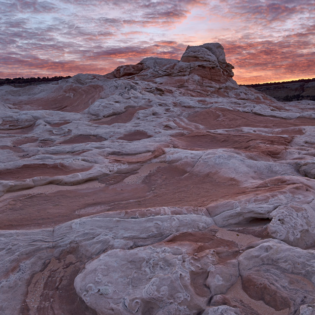 """Red clouds over sandstone at sunrise, White Pocket, Vermilion Cliffs National..."" stock image"