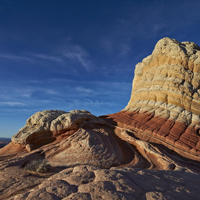 """""""White, tan, and red sandstone butte, White Pocket, Vermilion Cliffs National..."""" stock image"""