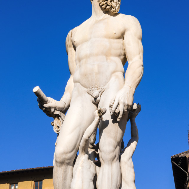 """Fountain of Neptune (Biancone), UNESCO World Heritage Site, Florence..."" stock image"