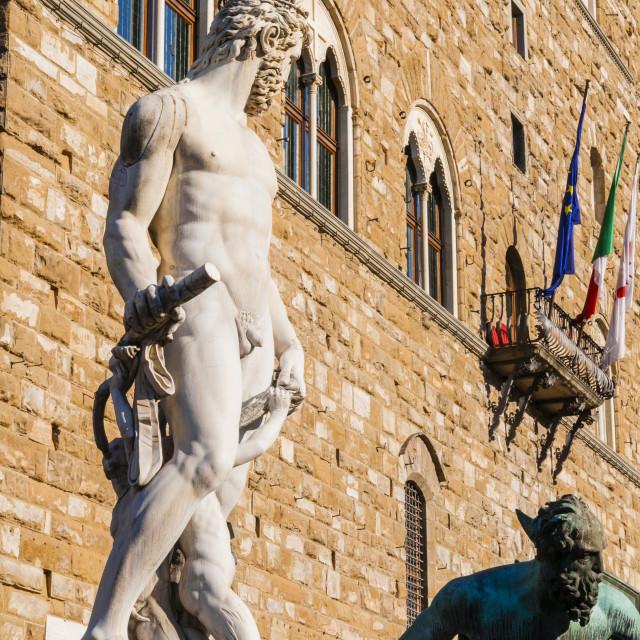 """Fountain of Neptune (Biancone), Florence (Firenze), UNESCO World Heritage..."" stock image"