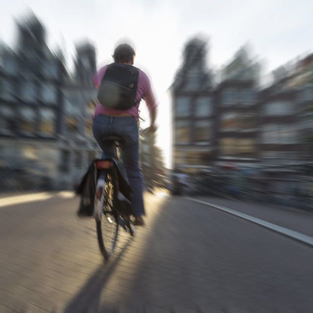 """""""Cyclist, Amsterdam, The Netherlands, Europe"""" stock image"""