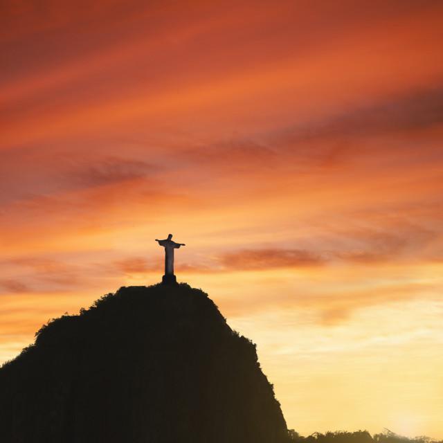 """Statue of Christ the Redeemer at sunset, Corcovado, Rio de Janeiro, Brazil,..."" stock image"