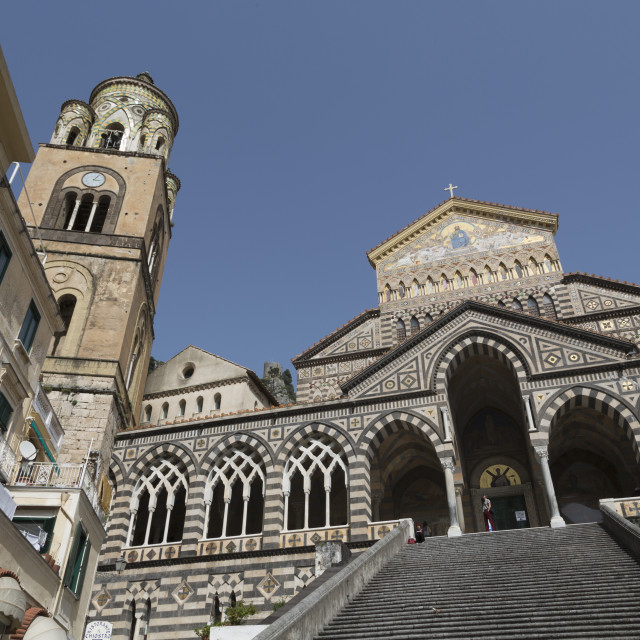 """Steps up to the Duomo Cattedrale Sant' Andrea in Amalfi, Amalfi Coast..."" stock image"