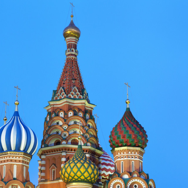 """""""Onion domes of St. Basil's Cathedral in Red Square illuminated at night,..."""" stock image"""