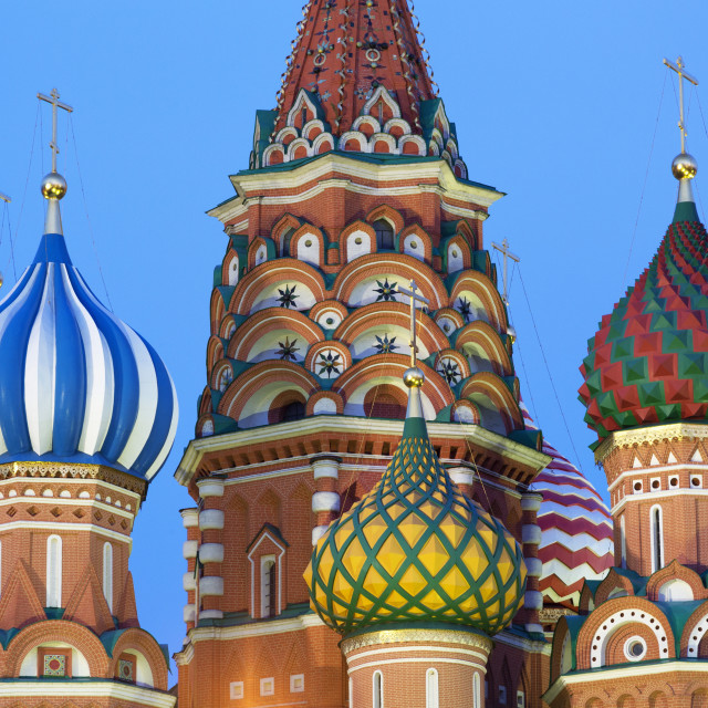 """Onion domes of St. Basil's Cathedral in Red Square illuminated in the..."" stock image"