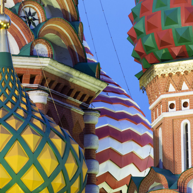 """""""Detail of the onion domes of St. Basil's Cathedral in Red Square, UNESCO..."""" stock image"""