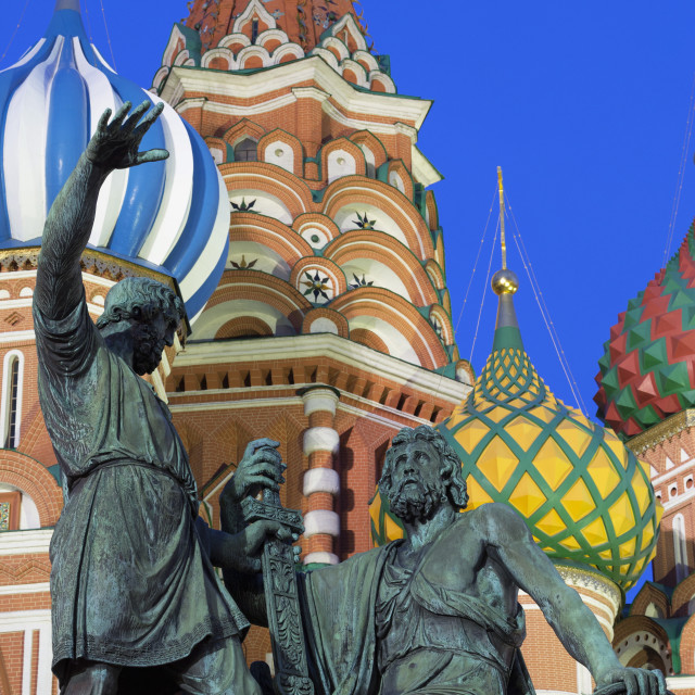 """Minin and Pozharskiy statue and the St. Basil's Cathedral in Red Square..."" stock image"