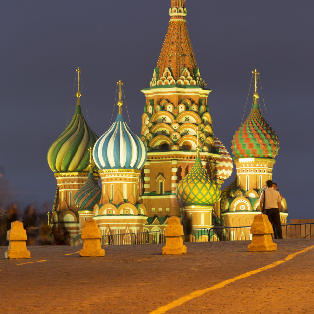 """Onion domes of St. Basil's Cathedral in Red Square illuminated at night,..."" stock image"
