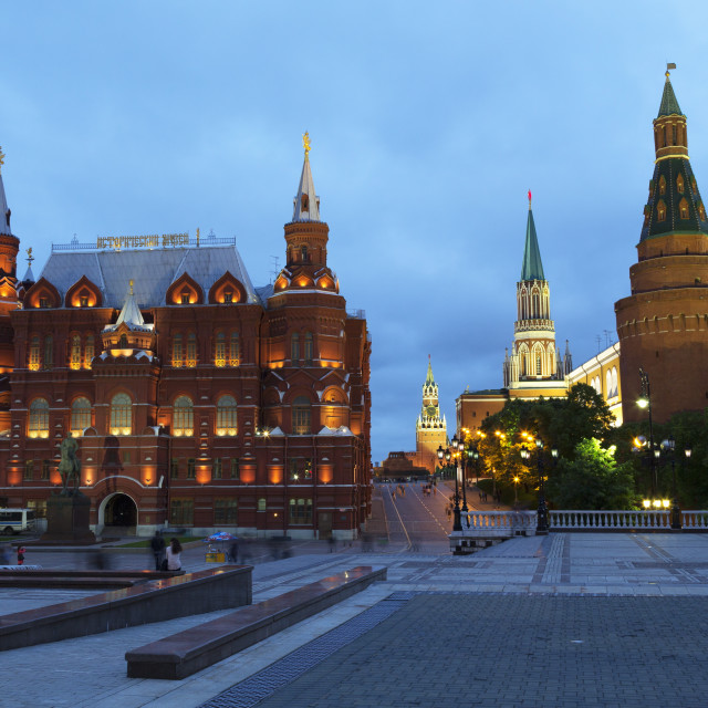 """The Historical Museum on Red Square and the Kremlin at night, UNESCO World..."" stock image"