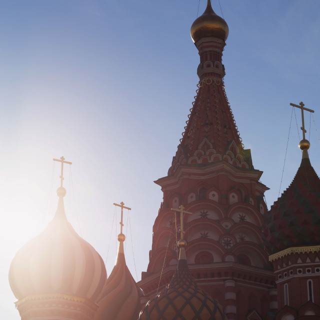 """""""Silhouette of the onion domes of St. Basil's Cathedral in Red Square, UNESCO..."""" stock image"""