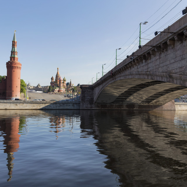 """""""Bridge over the River Moskva with the Kremlin and St. Basil's Cathedral in..."""" stock image"""