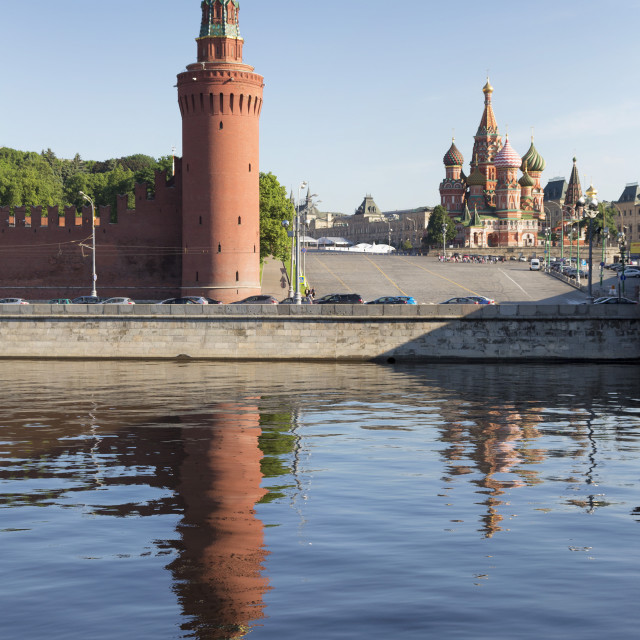 """""""The River Moskva with the Kremlin and St. Basil's Cathedral, UNESCO World..."""" stock image"""