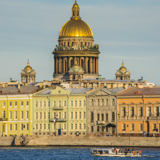 """City center of St. Petersburg from the River Neva at sunset with the St...."" stock image"