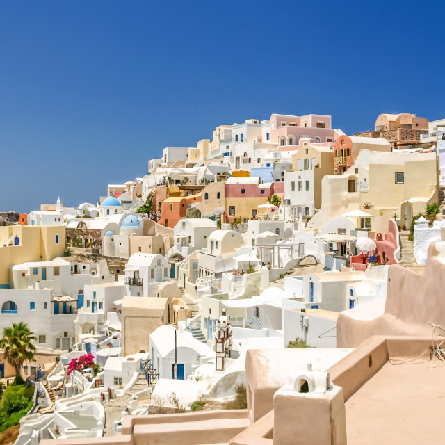 """view of oia in santorini and part of caldera"" stock image"