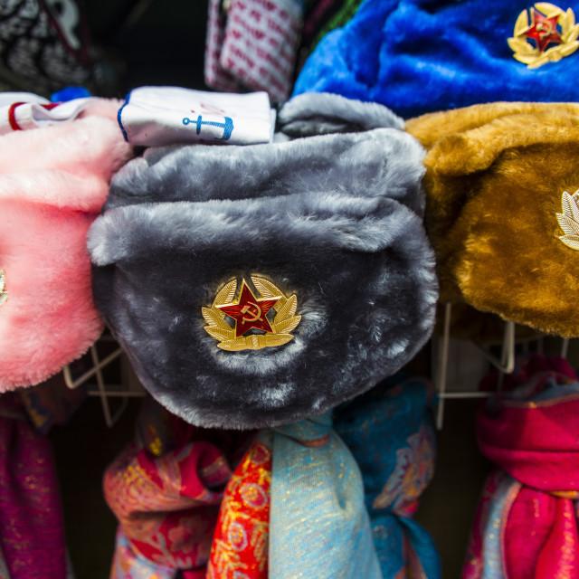 """Soviet fur hats for sale in Peterhof (Petrodvorets), St. Petersburg, Russia,..."" stock image"