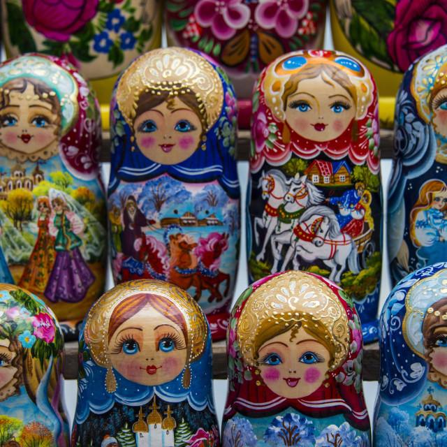 """Russian dolls for sale as souvenirs in Kiev (Kyiv), Ukraine, Europe"" stock image"