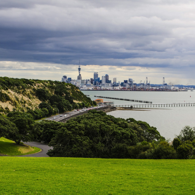 """""""View from the Michael Joseph Savage memorial at the Tamaki Drive over the..."""" stock image"""