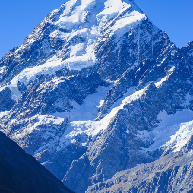 """Close up of Mount Cook highest mountain in New Zealand"" stock image"