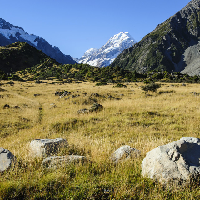 """Mount Cook highest mountain in New Zealand, South Island"" stock image"