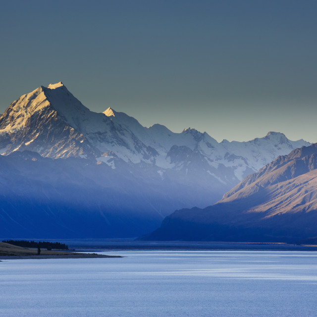 """Lake Pukaki with Mount Cook in the background in the late afternoon light,..."" stock image"