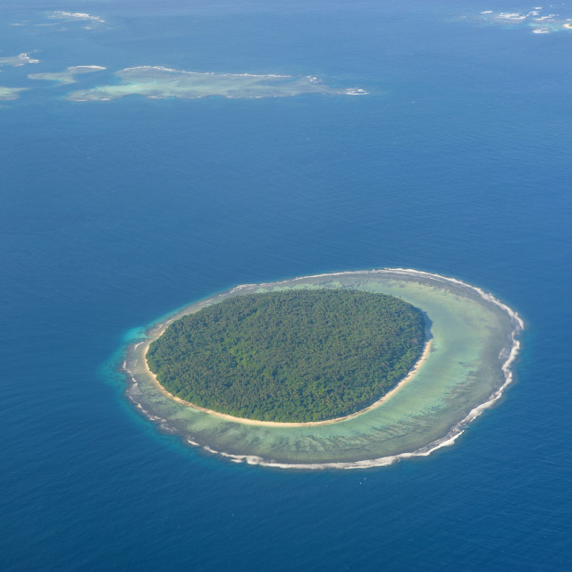 """""""Aerial photo of a little island in Tonga, South Pacific, Pacific"""" stock image"""