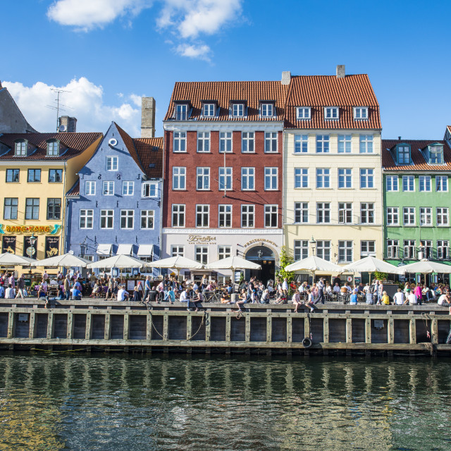 """Nyhavn, 17th century waterfront, Copenhagen, Denmark, Scandinavia, Europe"" stock image"