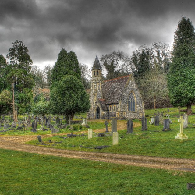 """A small church outside henley on thames"" stock image"