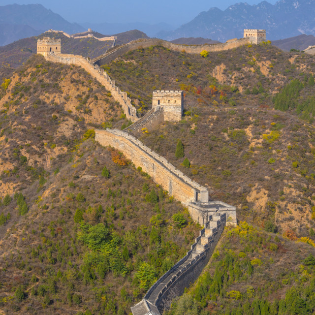 """Great Wall of China, UNESCO World Heritage Site, dating from Ming Dynasty,..."" stock image"