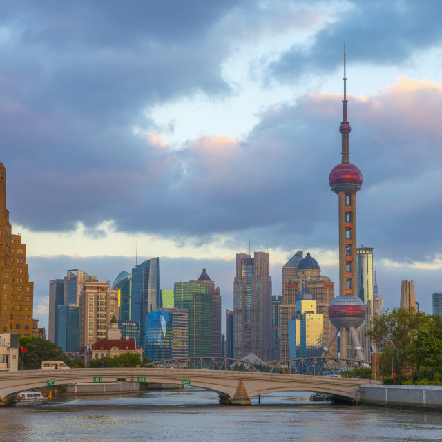 """Pudong Financial District skyline, including Oriental Pearl Tower, and bridge..."" stock image"