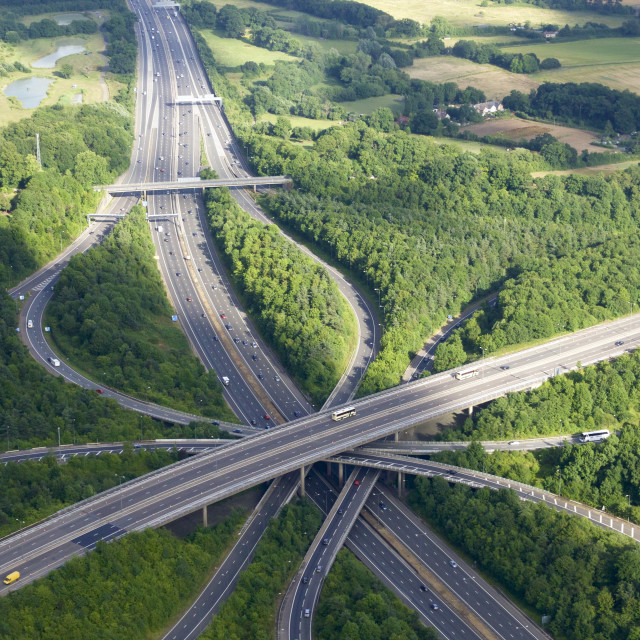 """Aerial photo of M23 flyover M25, near Redhill, Surrey, England, United..."" stock image"