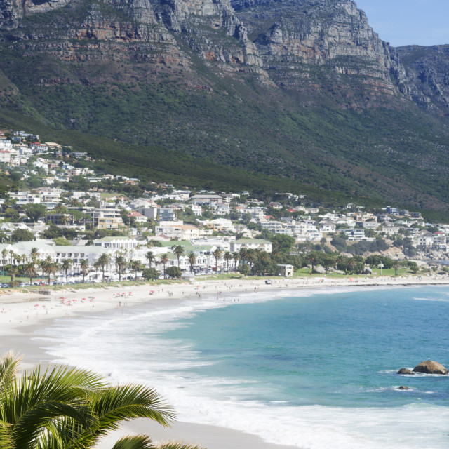 """Overview of Clifton Beach with homes and mountains in the bay, Cape..."" stock image"