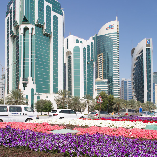 """""""City Centre buildings and Corniche traffic, Doha, Qatar, Middle East"""" stock image"""