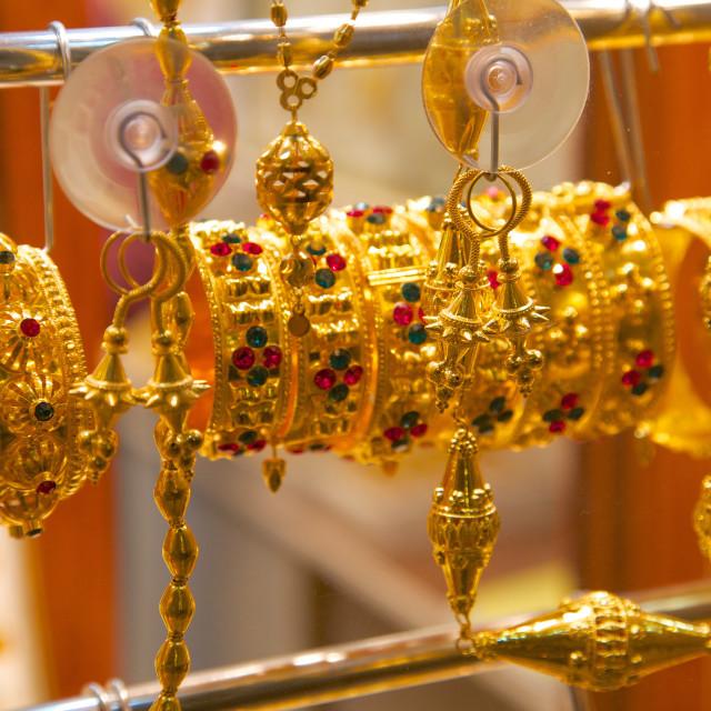 """Gold bracelets, Waqif Souq, Doha, Qatar, Middle East"" stock image"