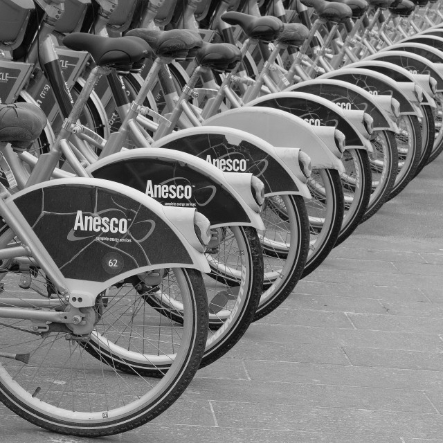"""a line of bicycles"" stock image"