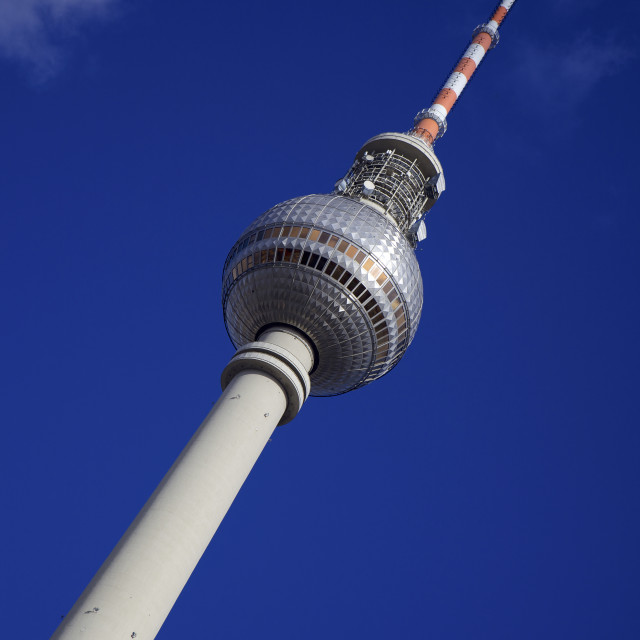 """Television tower (TV) with blue sky, Berlin, Germany, Europe"" stock image"